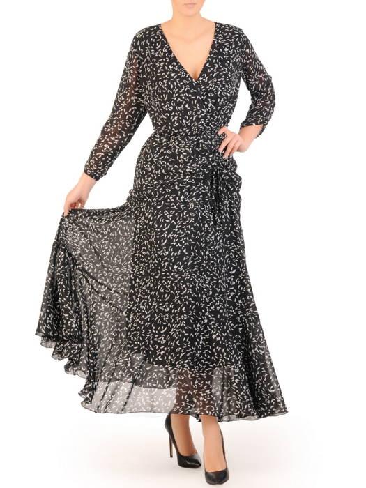 Kopertowa sukienka maxi, kreacja z ozdobną baskinką 30704