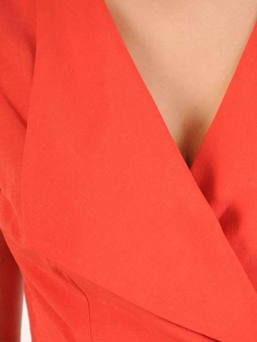Kopertowa sukienka z lnu, kreacja z ozdobnym wiązaniem 30051