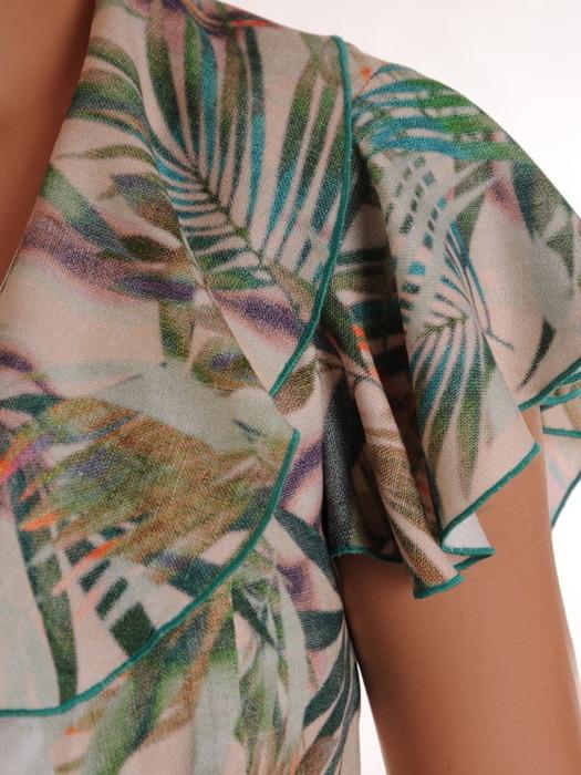 Kopertowa sukienka z modnymi falbanami, wizytowa kreacja na sezon letni 21537