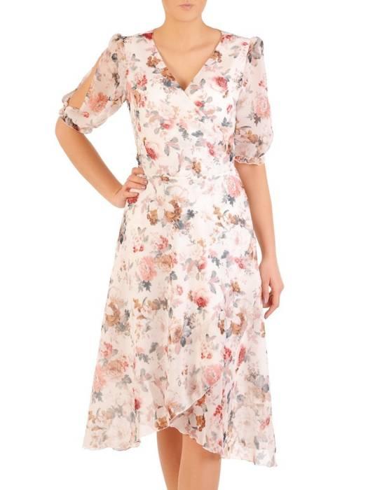 Kopertowa sukienka z ozdobnymi rozcięciami na rękawach 28990