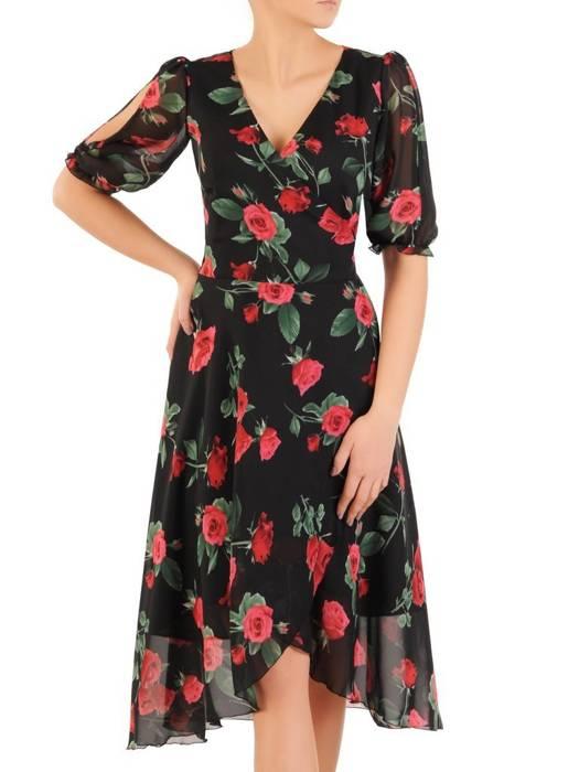 Kopertowa sukienka z ozdobnymi rozcięciami na rękawach 28999