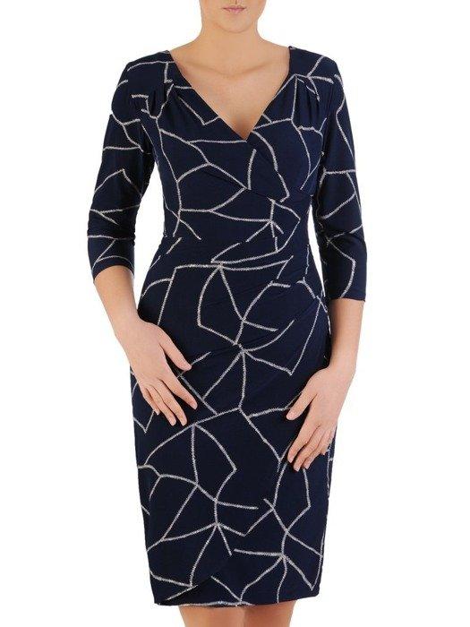 Kopertowa sukienka z tkaniny, kreacja w kontrastowy wzór 24343