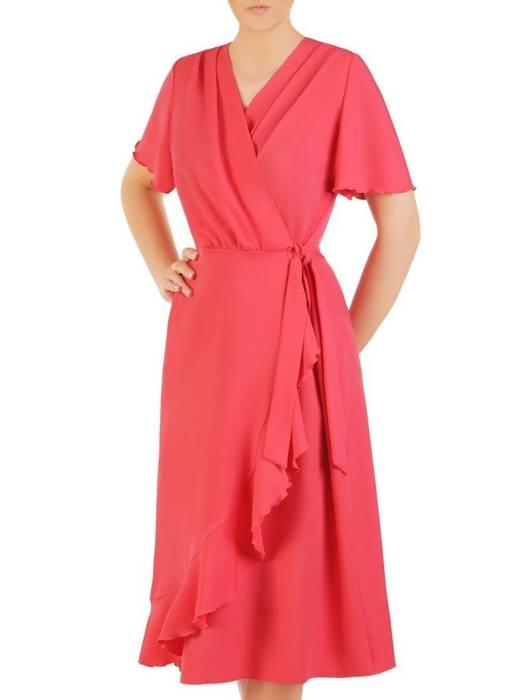 Koralowa sukienka kopertowa, elegancka kreacja z falbaną 29972