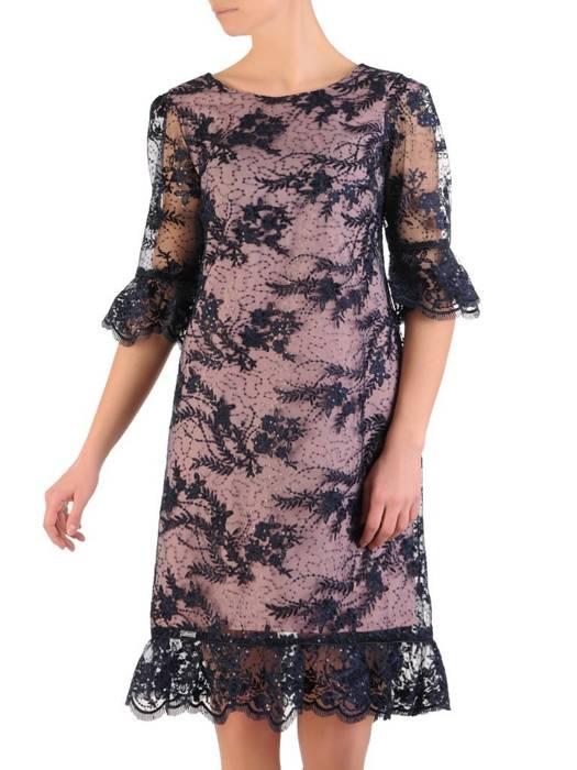 Koronkowa sukienka z ozdobnymi falbankami 28416