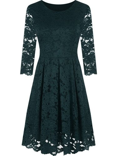 Koronkowa sukienka z rozkloszowanym dołem Izolda I, zielona kreacja na wieczór