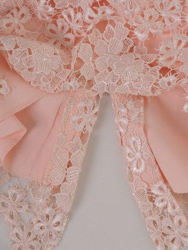 Koronkowa sukienka z szyfonowym szalem 14880, pastelowa kreacja na wesele.