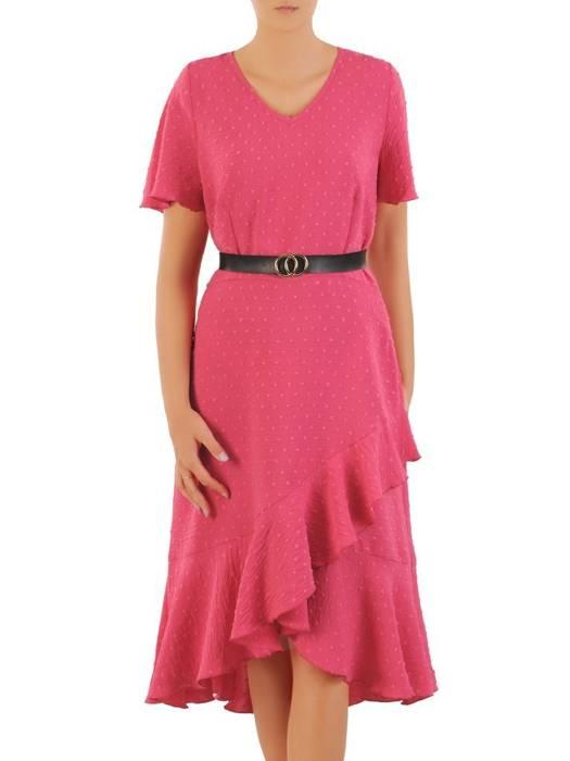 Letnia sukienka z asymetryczną falbaną na dole 30381