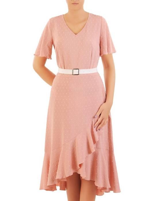 Letnia sukienka z asymetryczną falbaną na dole 30382