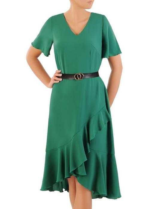 Letnia sukienka z asymetryczną falbaną na dole 30410