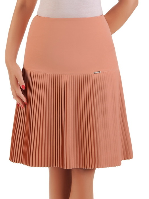 Łososiowa spódnica z plisowanym wykończeniem 21344