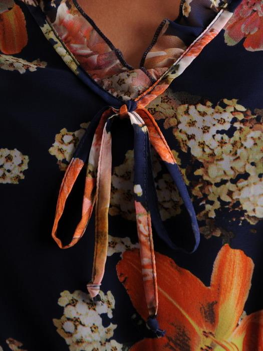 Luźna sukienka z falbankami, szyfonowa kreacja w modnych kolorach 21853