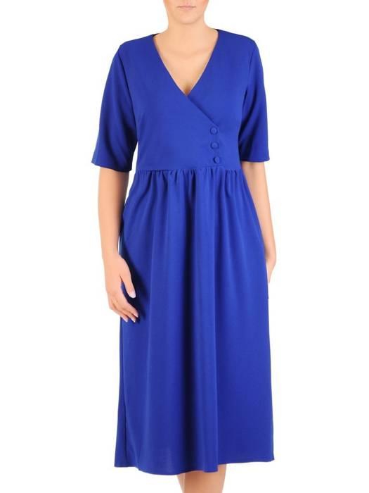 Luźna sukienka z kieszeniami, kreacja z kopertowym dekoltem 30386