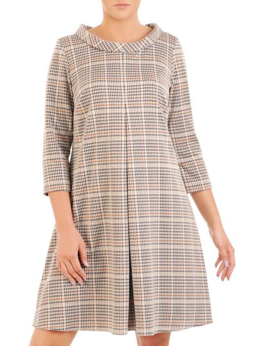 Luźna sukienka z kontrafałdą, oryginalna kreacja z półgolfem 30532
