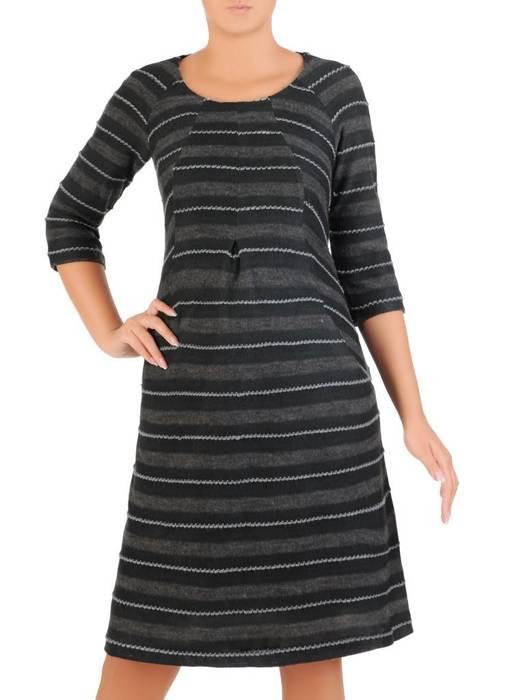 Luźna sukienka z kontrafałdą, oryginalna sukienka z dzianiny 27022