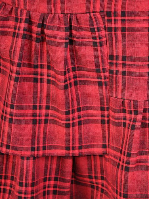 Luźna sukienka z ozdobnymi falbanami, kreacja w modną kratę 30695