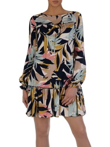 Luźna sukienka z ozdobnymi marszczeniami 15731, modna kreacja z roślinnym motywem.