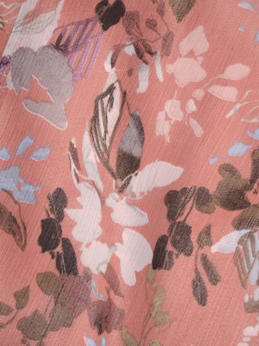 Luźna sukienka z szyfonu, kreacja z ozdobnym wiązaniem na dekolcie 30714