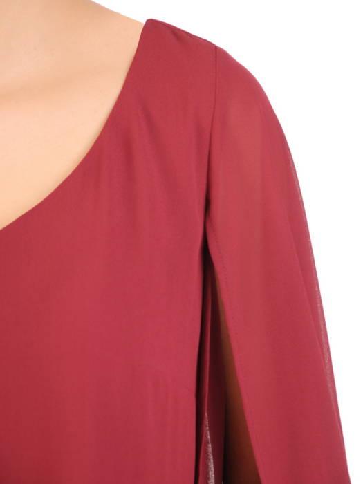 Luźna, szyfonowa sukienka z ozdobnie rozciętymi rękawami 30633