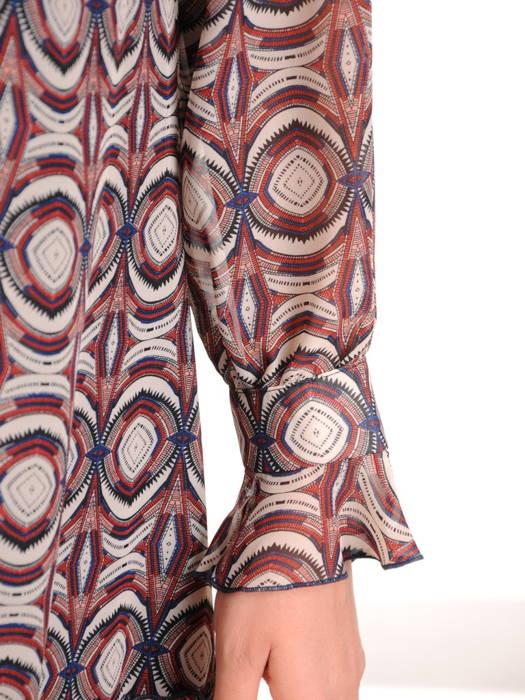 Luźna, szyfonowa sukienka z ozdobnym wiązaniem na dekolcie 31071