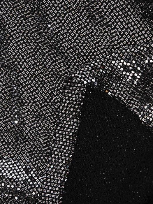 Metaliczna sukienka z modnym marszczeniem, wieczorowa kreacja z cekinami 19098