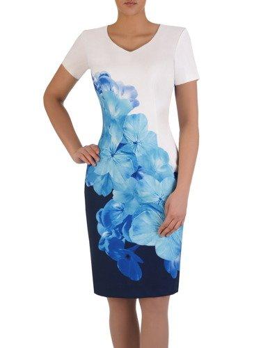Modna sukienka z dużym, wyszczuplającym nadrukiem 15820.