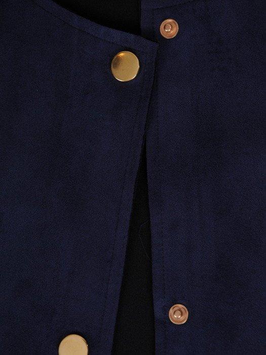 Modny płaszcz granatowy z kieszeniami 19854.