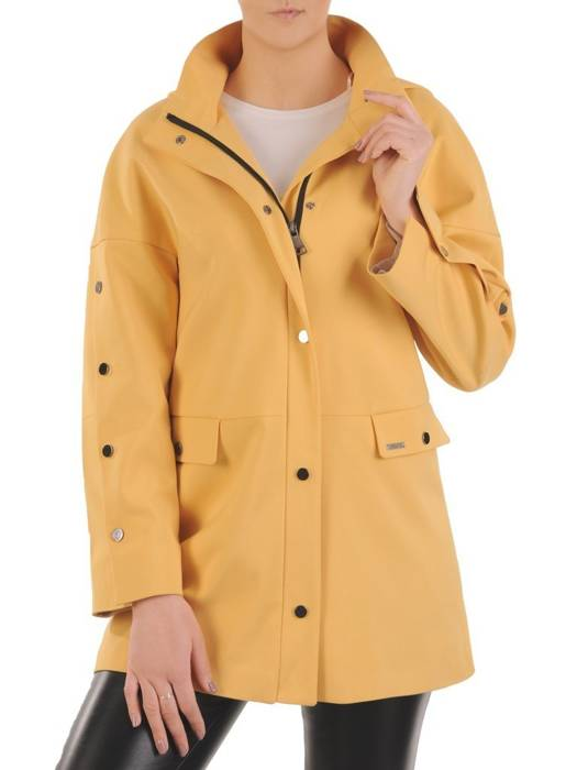 Musztardowa kurtka damska z ozdobnymi napami 29073