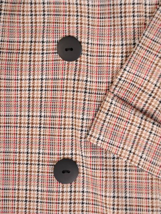 Niezapinany żakiet w kratkę z czerwoną nitką, wersja krótsza 30963