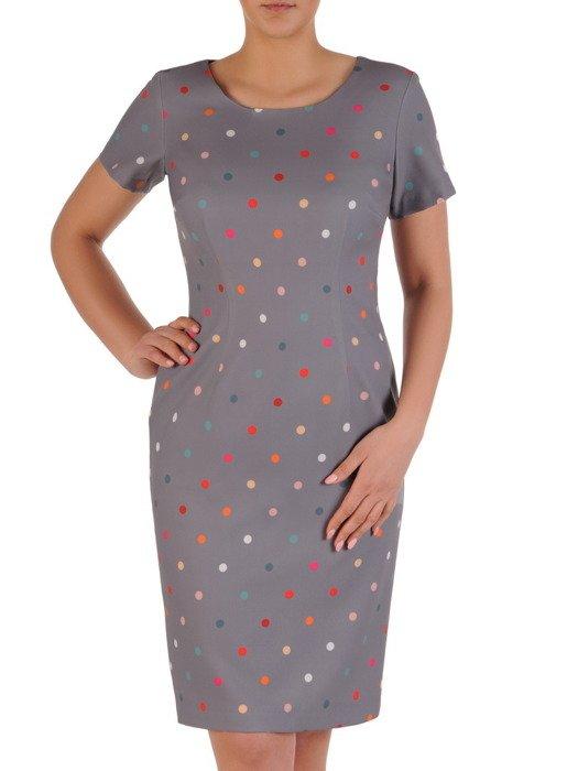 Nowoczesna sukienka w groszki, prosta kreacja na wiosnę 20042