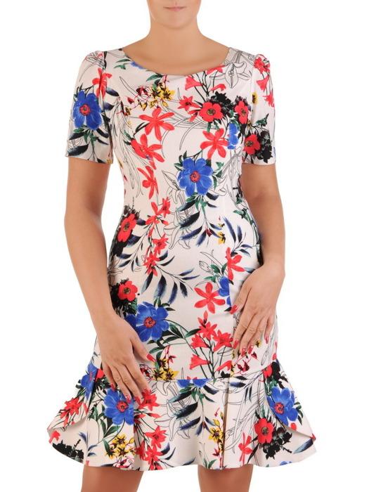 Nowoczesna sukienka w kolorowe kwiaty, kobieca kreacja z falbaną 21289