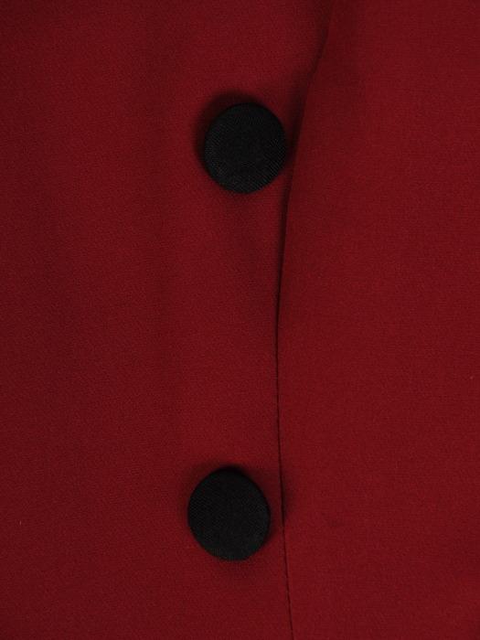Nowoczesna sukienka z kontrastowym, asymetrycznym kołnierzem 22168