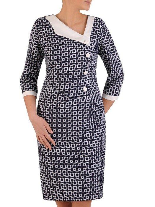 Nowoczesna sukienka z kontrastowym, asymetrycznym kołnierzem 24662