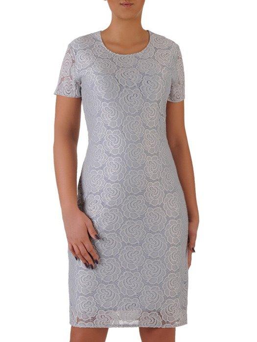 Nowoczesna sukienka z koronki Jolitta III, wizytowa kreacja o luźnym kroju.