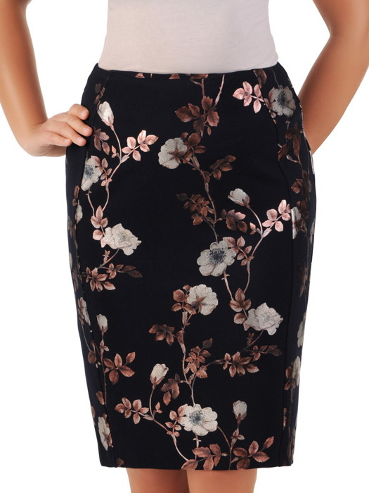 Ołówkowa spódnica w połyskujące kwiaty 21878