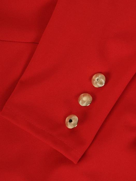 Ołówkowa sukienka z dzianiny, kreacja z ozdobnymi złotymi guzikami 28239