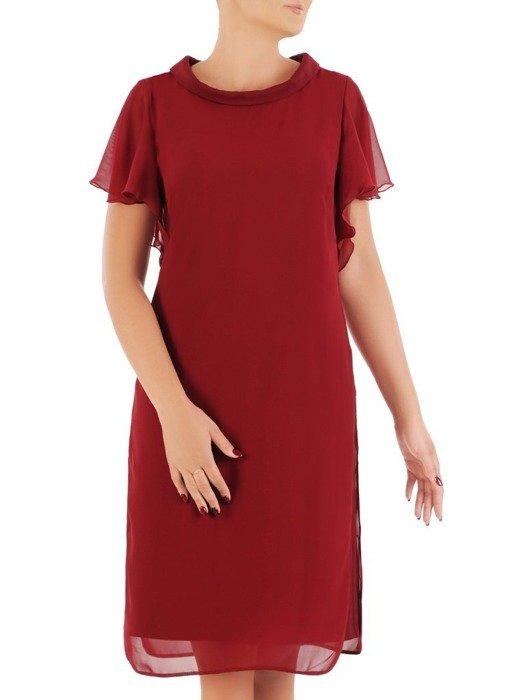 Oryginalna wizytowa sukienka, bordowa kreacja z półgolfem 26779
