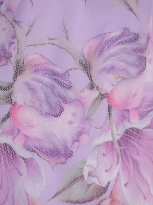 Pastelowa sukienka wyszczuplająca, kreacja z asymetryczną narzutką 30326