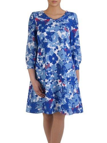 Piękna sukienka w kwiaty 14993, rozkloszowana kreacja na wiosnę.