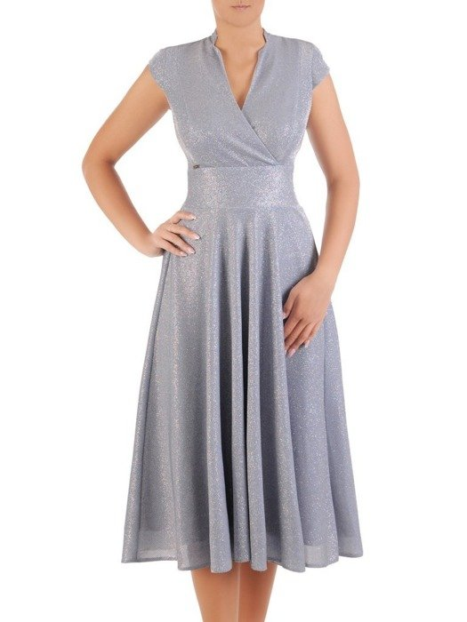 Połyskująca sukienka z dzianiny, kreacja z ozdobnym dekoltem 26747