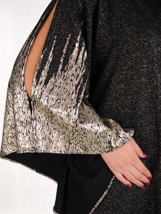Połyskująca sukienka z szerokimi, rozcinanymi rękawami 19003