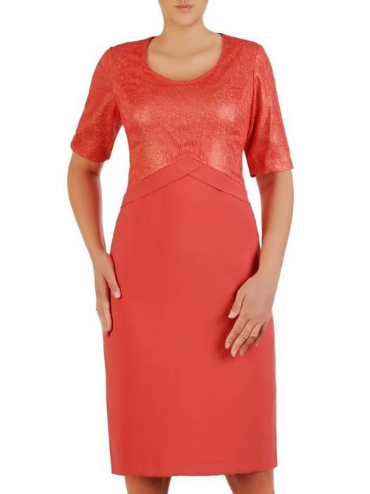 Pomarańczowa sukienka z łączonych tkanin 26281