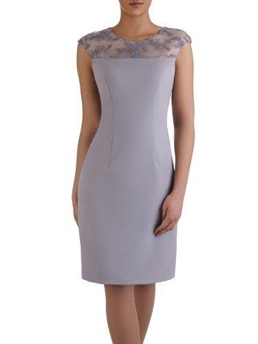 Popielata sukienka z krótkim, koronkowym żakietem 15048.