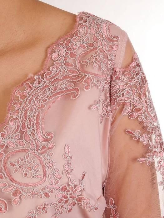 Prosta sukienka pudrowa z kopertowym dekoltem, kreacja na wesele 29464