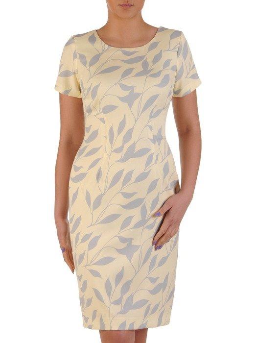 Prosta sukienka w kontrastowe liście, wizytowa kreacja wyszczuplająca 20311