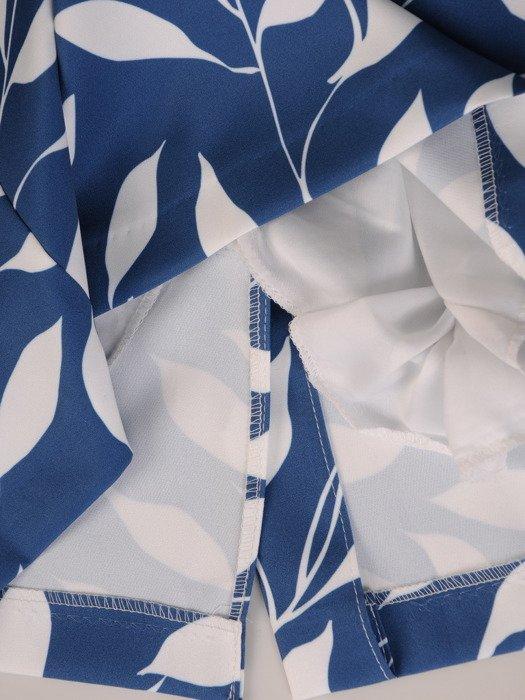 Prosta sukienka w kontrastowe liście, wizytowa kreacja wyszczuplająca 20312