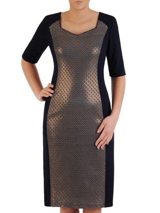Prosta sukienka wizytowa, kreacja z wyszczuplającymi wstawkami 24505