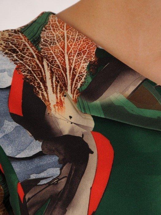 Prosta sukienka z ciekawym wzorem, wiosenna kreacja z guzikami 25025
