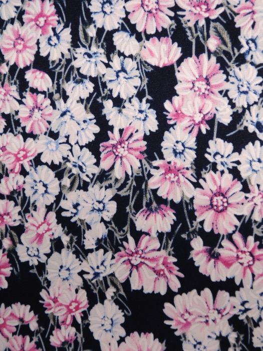 Prosta sukienka z dzianiny w kwiaty, modna kreacja z krótkimi rękawami 21169