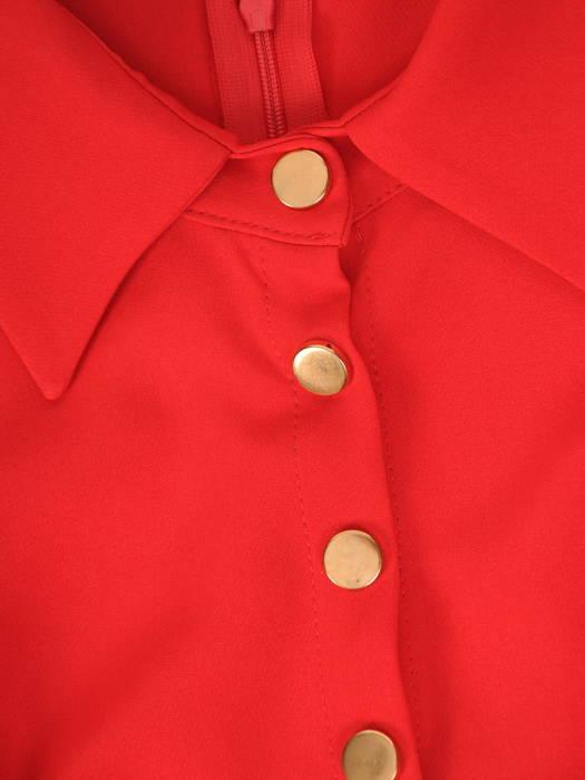 Prosta sukienka z kołnierzykiem, kreacja z rozpinanym dekoltem 30634