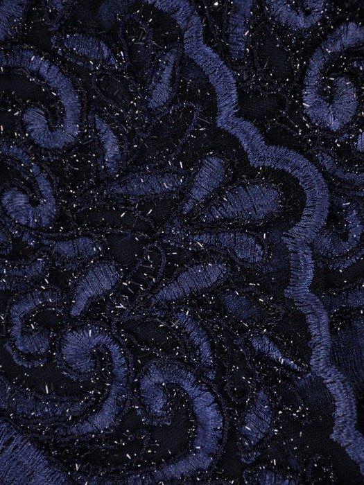Prosta sukienka z kopertowym dekoltem, kreacja z koronkowym topem 22534